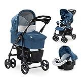 Hauck Shopper SLX Trio Set 3 in 1 Kinderwagen bis 25 kg + Babyschale + Babywanne mit Matratze ab Geburt, Buggy mit Liegefunktion, Getränkehalter, leicht, klein faltbar, denim (blau)